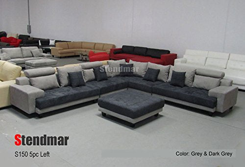 5PC MODERN 2-TONE GREY MICROFIBER BIG SECTIONAL SOFA SET S150LG