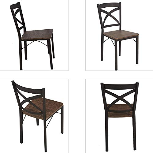 Dporticus 5-Piece Dining Set Industrial Style Wooden Kitchen Table and Chairs