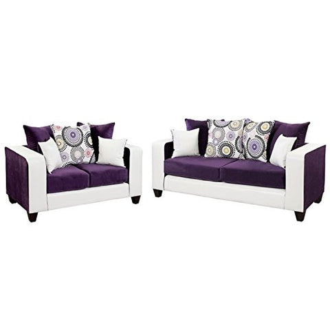 BOWERY HILL 2 Piece Velvet Sofa Set in Purple and White