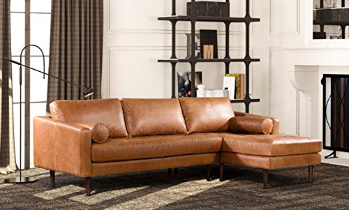 POLY & BARK Napa Right Sectional Modern Leather Sofa in Cognac Tan