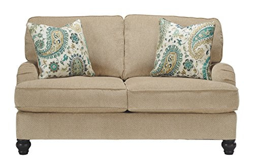 Benchcraft - Lochian Casual Loveseat - Two Accent Pillows Included - Bisque Beige
