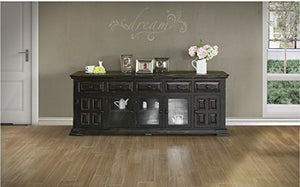 Rustic Distressed Solid Wood 83 Inch Tv Stand Entertainment Console - Black