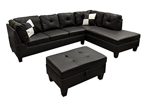 WINPEX 3 Piece Nail Head Faux Leather Sectional Sofa + Storage Ottoman Foot  Stool | Right Facing Orientation (Black)