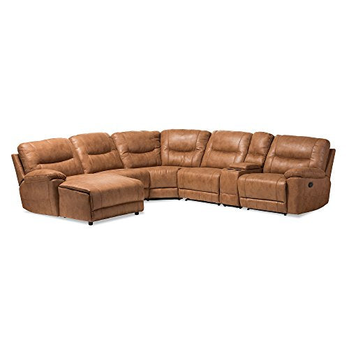 Baxton Studio 6 Piece Nadeen Palomino Suede Sectional Recliners Corner Lounge Suite, Light Brown
