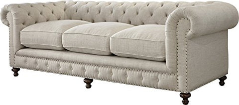 Crisp Elegant Sofa with Six Turned Feet Frame Crafted of Wood Glossy Espresso Finish Rolled Arms Wrapped in Solid Hued Linen Chic Nail Head Trim Diamond Tufted Back Living Room Furniture Décor