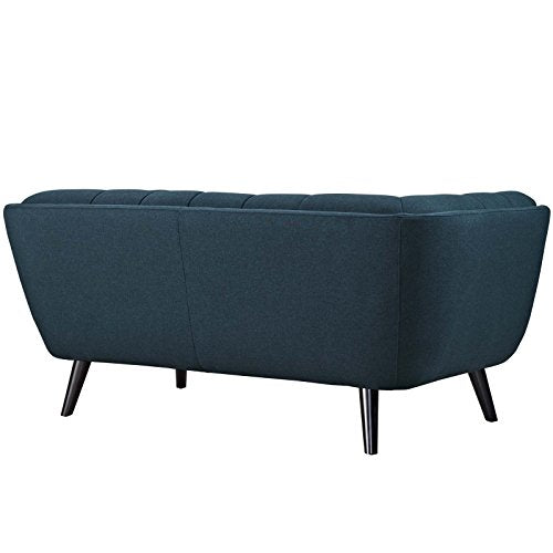 Modway Bestow Upholstered Fabric Button-Tufted Loveseat In Blue