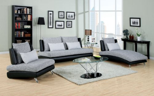 Furniture of America Merton Fabric and Leatherette Sofa, Gray and Black