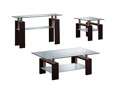 Best Quality Furniture CT219-220-220-221 Modern Glass Espresso Elegant Coffee Table Set
