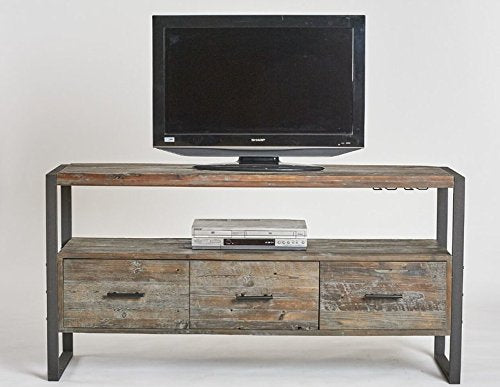 "60"" TV Stand in Antique Gray Lacquer Sealed Enclosed Drawers Distressed Media Storage A Black Iron Frame Compliments the Rustic Character of the Reclaimed Fir"