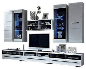 MEBLE FURNITURE & RUGS Wall Unit Modern Entertainment Center with LED Lights TV Stand, High Gloss White