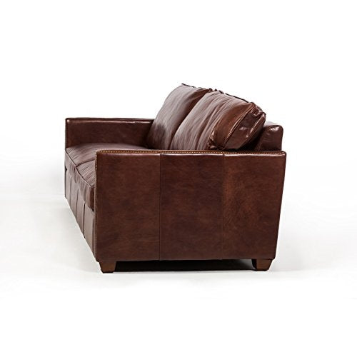 "Design Tree Home Rifkin 83"" Chestnut Brown Leather Sofa"