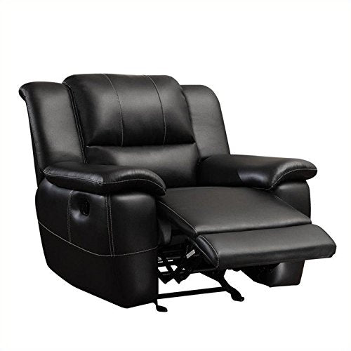 BOWERY HILL Transitional Glider Leather Recliner in Black