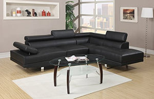 2Pcs Modern Black Faux Leather Sectional Sofa Chaise Set with Flip Up Headrest