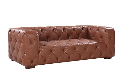 Large Tufted Real Itlian Leather Chesterfield Sofa, Classic Living Room Couch (Light Brown)