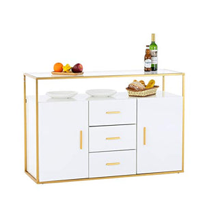 Mecor Kitchen Sideboard Cabinet,Tempered Glass Top Buffet Storage Cabinet with 3 Drawers,2 Doors,and Open Shelf,Kitchen Dining Room Furniture Console Server Table White