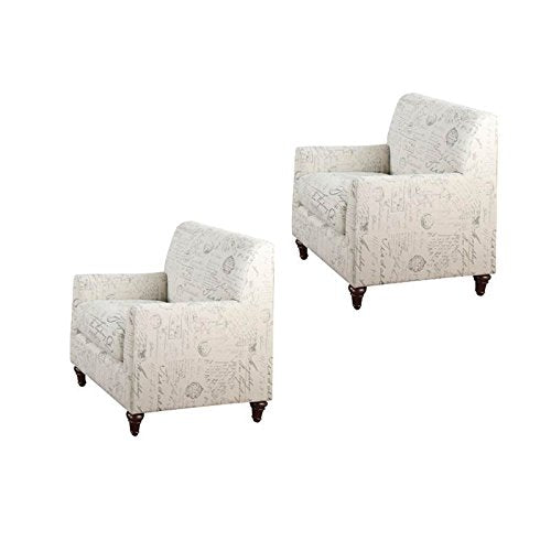 Home Square (Set of 2) Accent Arm Chair in White Script