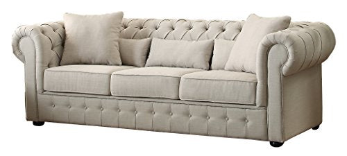 Homelegance 8427-3 Grand Chesterfield Button Tufted Upholstered Fabric Rolled Arm Sofa
