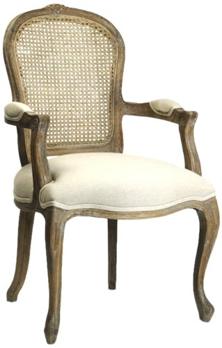 Zentique CFH122 Cane E272 H013 Lyon Cane Back Arm Chair, Limed Grey Oak