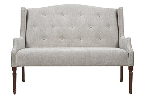 Jennifer Taylor Home Izzy Collection Modern Chic Stylish Hand Tufted Settee with Wooden Legs, Silvery Gray