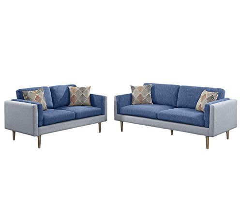 2Pcs Modern Two Tones Blue and Aqua Cotton Blended Fabric Sofa Loveseat Set with Short Silver Legs