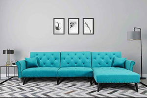 Upholstered Mid Century Sectional Sofa Futon Couch with Reversible Chaise with Adjustable Back Sofa Bed (Sky Blue)
