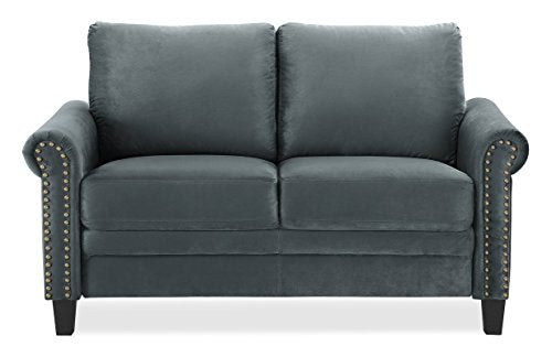 Sofa in Dark Grey with Seating Capacity-2 and 4 Legs of Plastic in Dark Brown and Back Fill Material is Foam that Makes This Sofa for Your Home