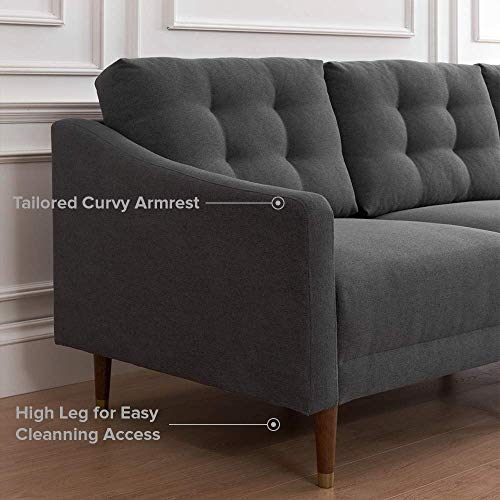 "Mopio Savannah Mid-Century Modern Couch, Fabric Upholstered Sofa with Tufted Back and Tapered Gold Caps Legs, 88.6"" W, Dark Gray"