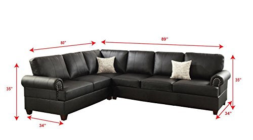 2Pcs Modern Black Bonded Leather Reversible Sectional Sofa Set with 2 Accent Pillows