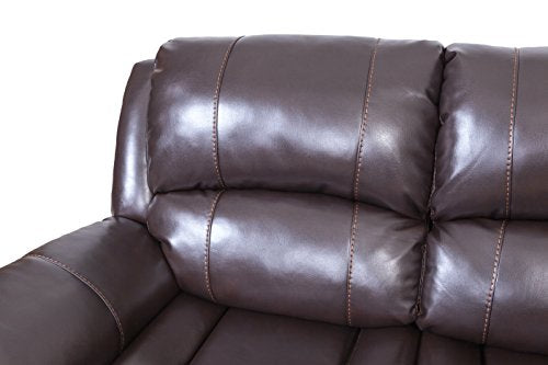 2-Piece Leather Reclining Sofa Set Leatherette Recliner for Living Room, Dark Brown by Juntoso …