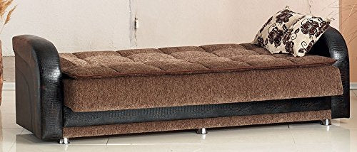 BEYAN Utica Collection Folding Sofa Bed / Sleeper with Storage Space, Includes 2 Pillows, Dark Brown