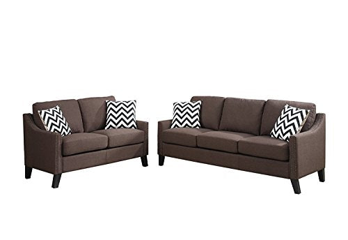 2Pcs Modern Chocolate Linen-Like Fabric Sofa Loveseat Set with Sloped Arms Trimmed in Nickel Finished Studs