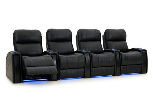 Octane Seating Nitro XL750 Black Leather - Power Recline - Arm Storage - Lighted Cup Holders - Straight Row 4 - Memory Foam