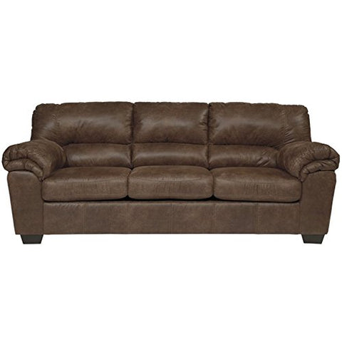 Pemberly Row Faux Leather Sofa in Coffee