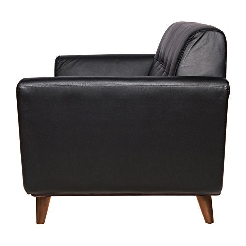 LeisureMod Luray Black Leather Upholstered Tufted Loveseat Sofa with Walnut Oak Base