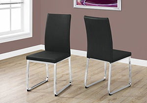 "Monarch Dining Chair - 2Pcs / 38"" H/Black Leather-Look/Chrome"
