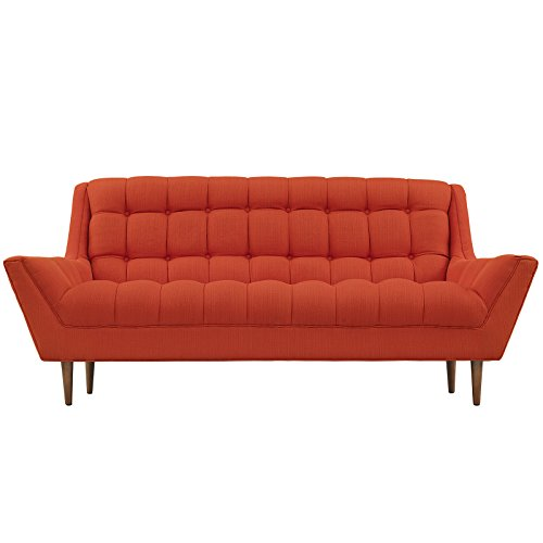 Modway Response Mid-Century Modern Loveseat Upholstered Fabric in Atomic Red