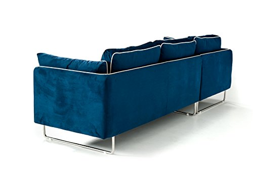 Limari Home Kari Collection Modern Fabric Upholstered Living Room Sectional Sofa, Blue