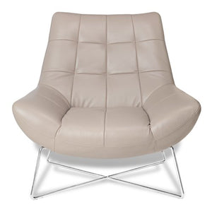 Zuri Furniture Medici Tufted Leather Modern Accent Lounge Chair Taupe