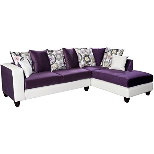 Pemberly Row Velvet Right Facing Sectional in Purple and White