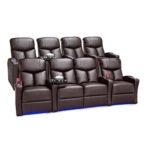 Seatcraft 2175 Raleigh Leather Gel Home Theater Seating Power Recline, Row of 4 and Row of 4 with Middle Loveseat, Brown