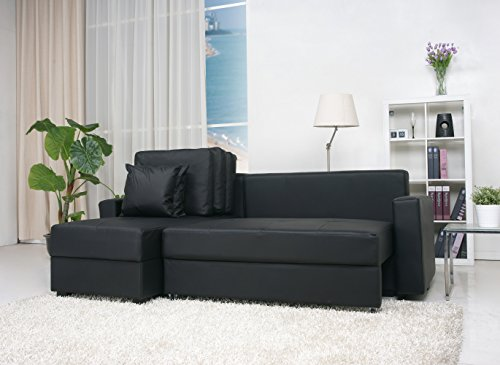 Gold Sparrow Aspen Convertible Sectional Storage Sofa Bed, Black