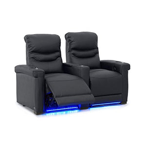 Octane Challenger XS700 Row of 2 Seats, Straight Row in Black Leather with Power Recline