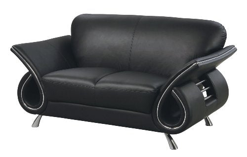 Global Furniture Clark Collection Leather Matching Love Seat, Black
