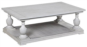 Bassett Mirror Company Rectangle Cocktail Table in Antique White Finish