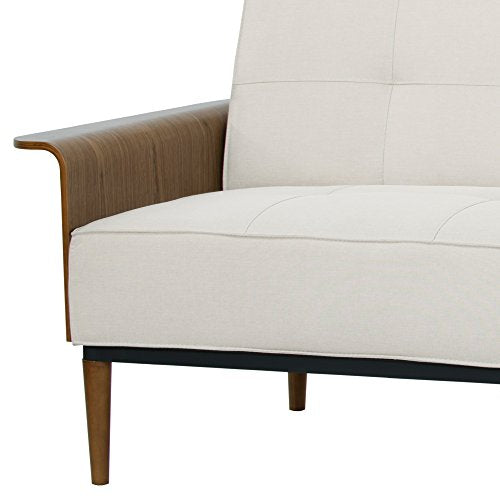 Armen Living LCMOSOBE Monroe Convertible Futon in Beige Fabric and Walnut Wood Finish