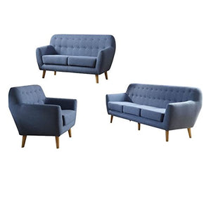 3 Piece Sofa with Love Seat and Arm Chair Living Room Set in Blue
