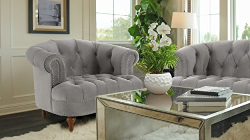 Jennifer Taylor Home 2525-1-865 La Rosa Living-Room-Chairs, Opal Grey