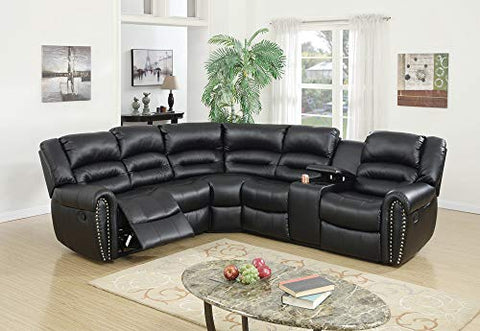Benzara BM166729 Bonded Leather 3 Piece Reclining Sectional, Black