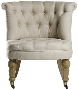 Zentique Amelie Slipper Chair, Natural Oak/Linen