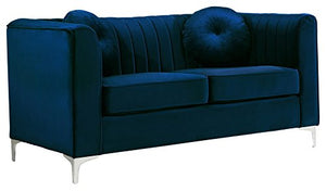 Meridian Furniture 612Navy-L Isabelle Channel Tufted Velvet Upholstered Loveseat with Custom Chrome Legs, Navy